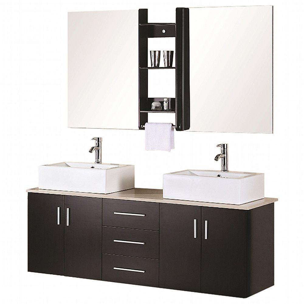 Design Element Ava 61 In W X 20 In D Vanity In Espresso With Quartz Vanity Top And Mirror In