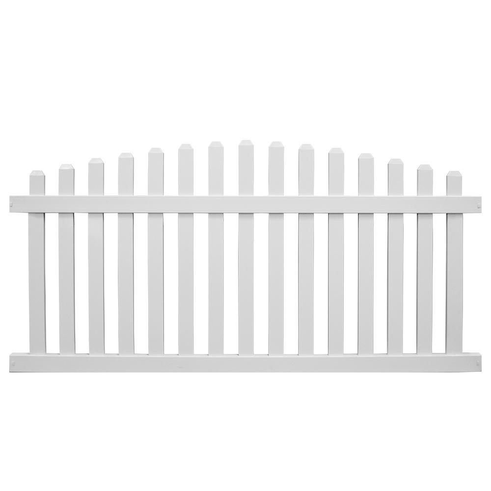Sanibel 3 ft. H x 8 ft. W White Vinyl Picket