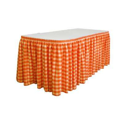 14 ft. x 29 in. Long White and Orange Polyester Gingham Checkered Table Skirt with 10 L-Clips