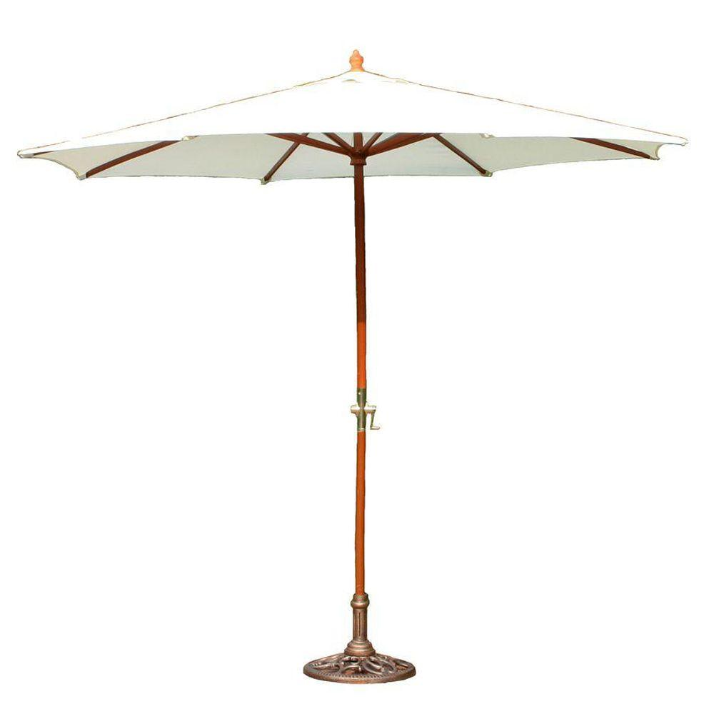 oakland living 9 ft. patio umbrella in white with stand-4001-4101-2 9 Ft Umbrella with Stand