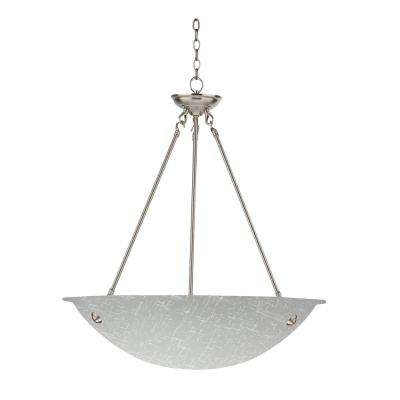 3-Light Satin Steel Chandelier with White Cracked Glass Shade