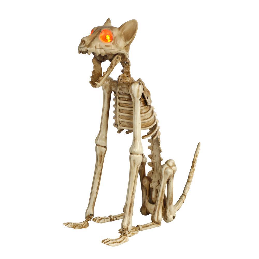 15 in. Skeleton Sitting Cat with LED Illuminated Eyes