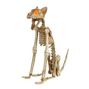 15 in. Skeleton Sitting Cat with LED Illuminated Eyes