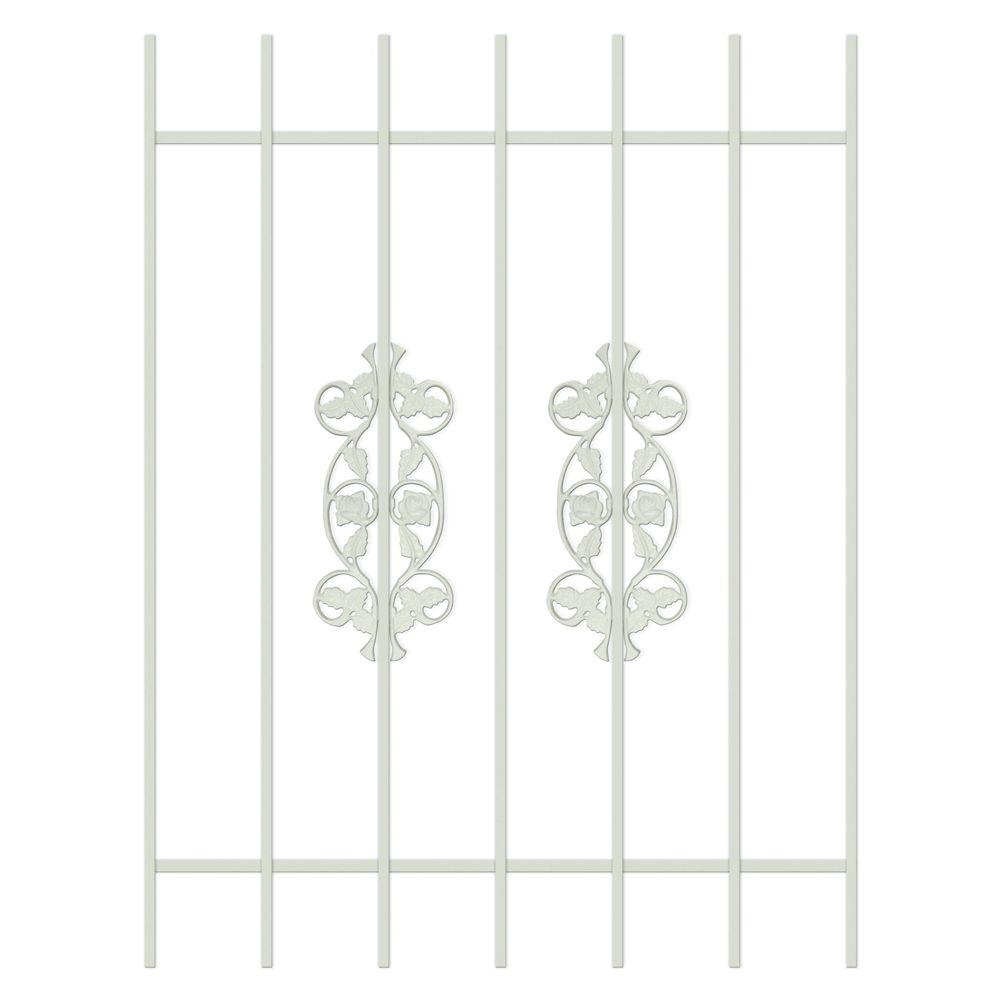 Unique Home Designs Rambling Rose 36 in. x 48 in. Almond 7-Bar Window Guard-DISCONTINUED