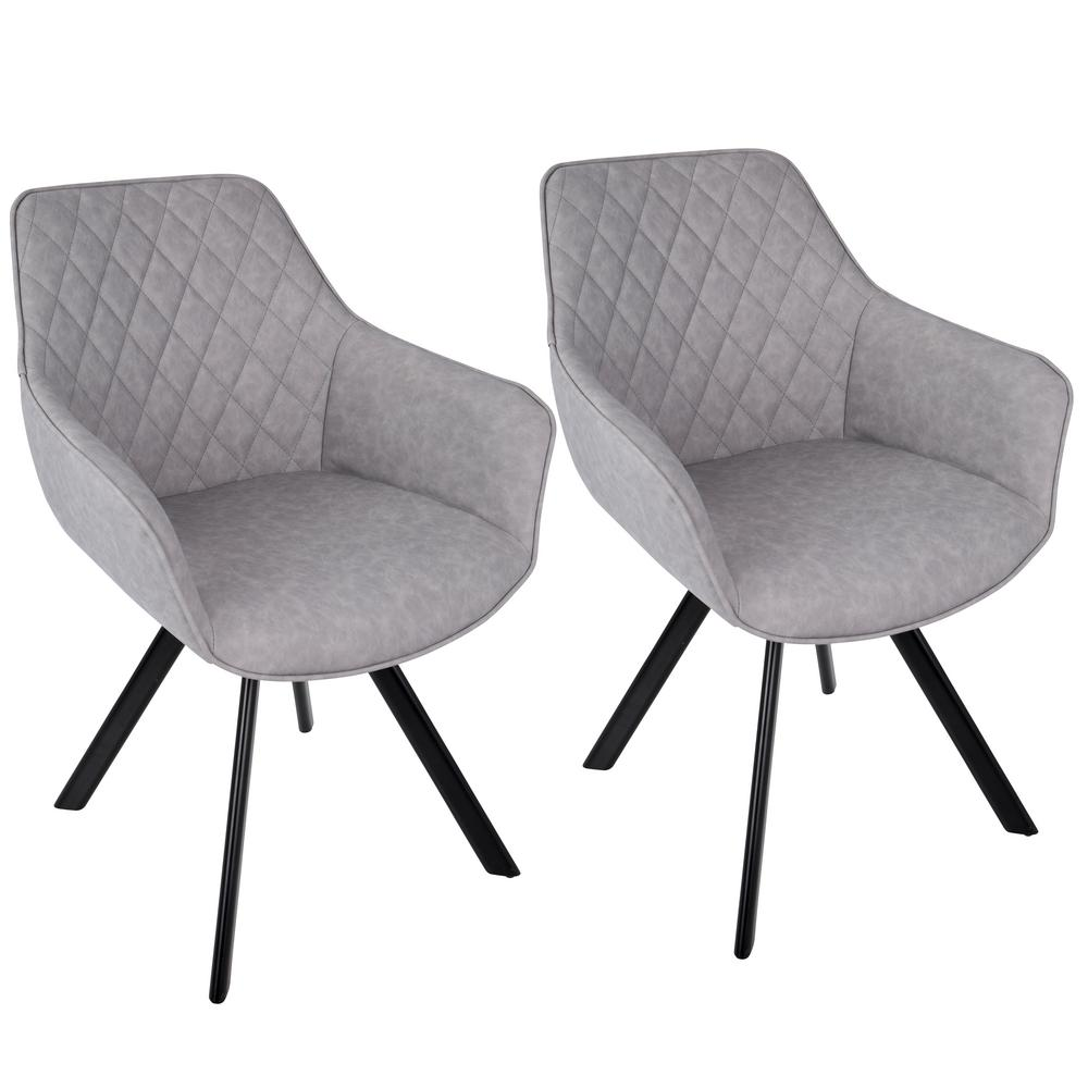 Outlaw Industrial Grey Dining/Accent Chair (Set of 2), Grey/Black