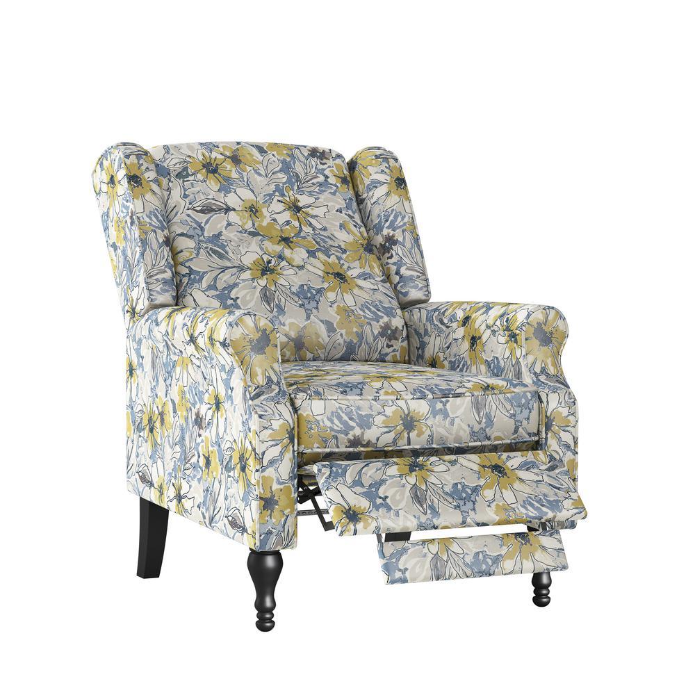 Lavender Purple Multi-Floral Bouquet Wingback Push Back Recliner Chair