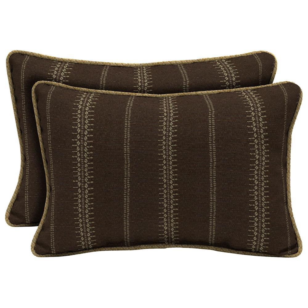 Trevor Stripe Espresso Lumbar Outdoor Throw Pillow with Welt (2-Pack)