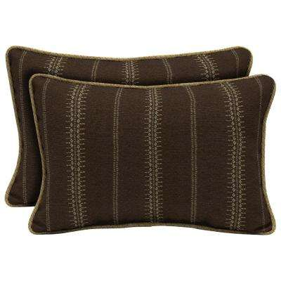 Trevor Stripe Espresso Lumbar Outdoor Throw Pillow with Welt (2-Pack)