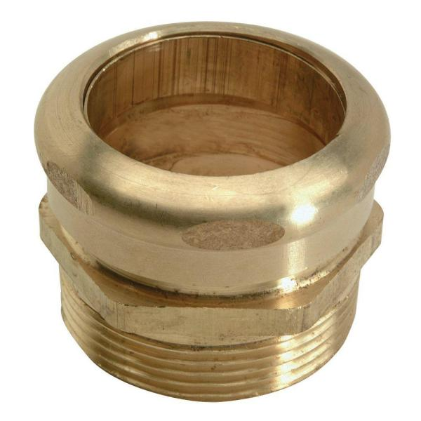 1-1/4 in. O.D. Comp x 1-1/2 in. MIP (1-1/2 in. I.D. Fem Sweat) Brass Waste Connector with Die Cast Nut in Rough Finish