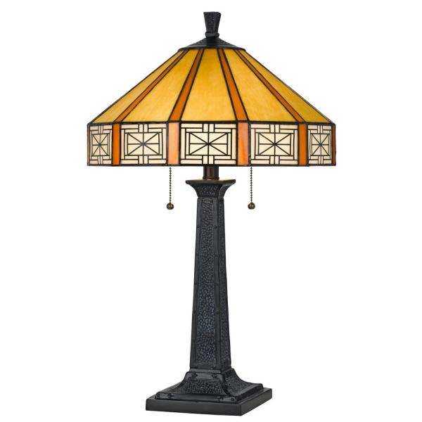24 in. Resin Table Lamp with Tiffany Glass Shade in Dark Bronze Finish