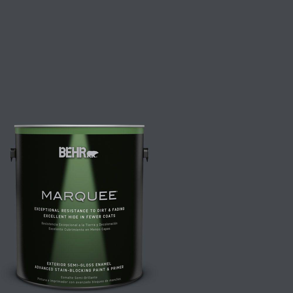 BEHR MARQUEE 1-gal. #N490-7 Ink Black Semi-Gloss Enamel Exterior Paint
