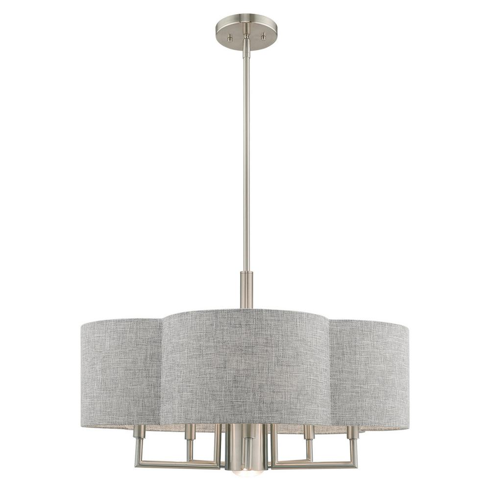 Livex Lighting Kalmar 6 Light Brushed Nickel Pendant Chandelier With Gray Fabric Hardback Shade