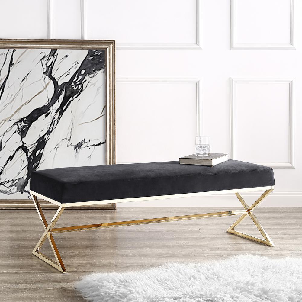 Inspired Home Elora Metal X-Leg Black/Gold Velvet Bench BH67-02BK-HD