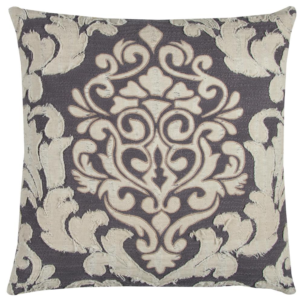 Distressed Damask 20 in. x 20 in. Ivory Decorative Filled Pillow