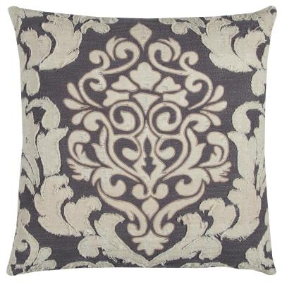 Ivory and Gray Ivory and Gray Floral Polyester 20 in. x 20 in. Throw Pillow