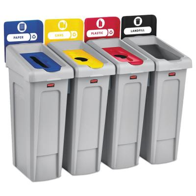 Slim Jim Recycling Station Kit, 92 Gal. 4-Stream Landfill/Paper/Plastic/Cans