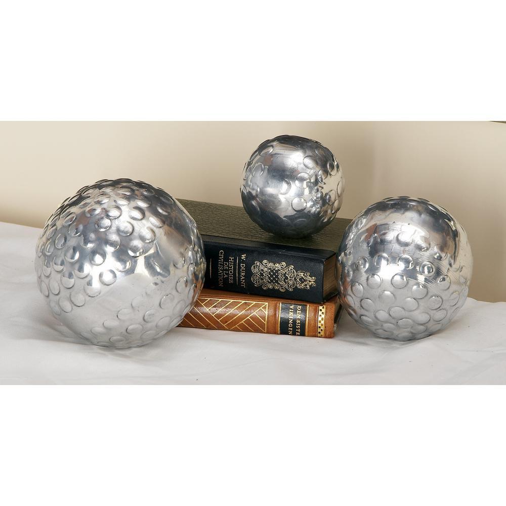 Litton Lane Silver Aluminum Decorative Balls with Raised Bumps (Set of 3)