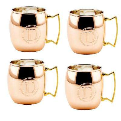 Monogram D 16 oz. Solid Copper Moscow Mule Mugs (Set of 4)