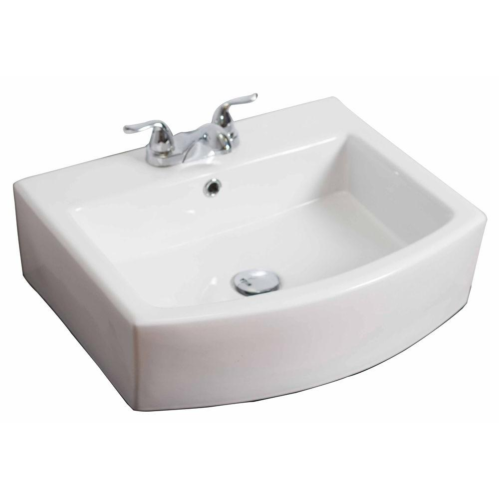 American Imaginations 22-in. W x 20-in. D Wall Mount Rectangle Vessel Sink In White Color For 4-in. o.c. Faucet