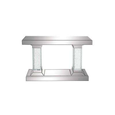 Silver Glass Mirror Console Table with Crystal Bubble Pedestals