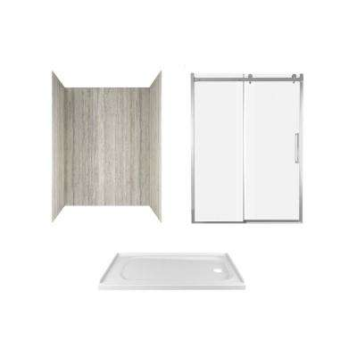 Passage 60 in. x 72 in. 3-Piece Glue-Up Alcove Shower Wall, Door and Base Kit with Right Drain in Pewter Travertine