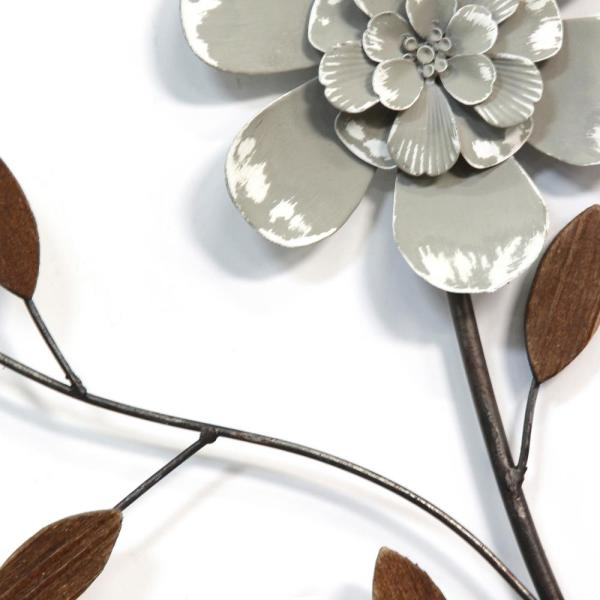 Stratton Home Decor Simple Floral Metal Wall Decor S15028 The Home Depot