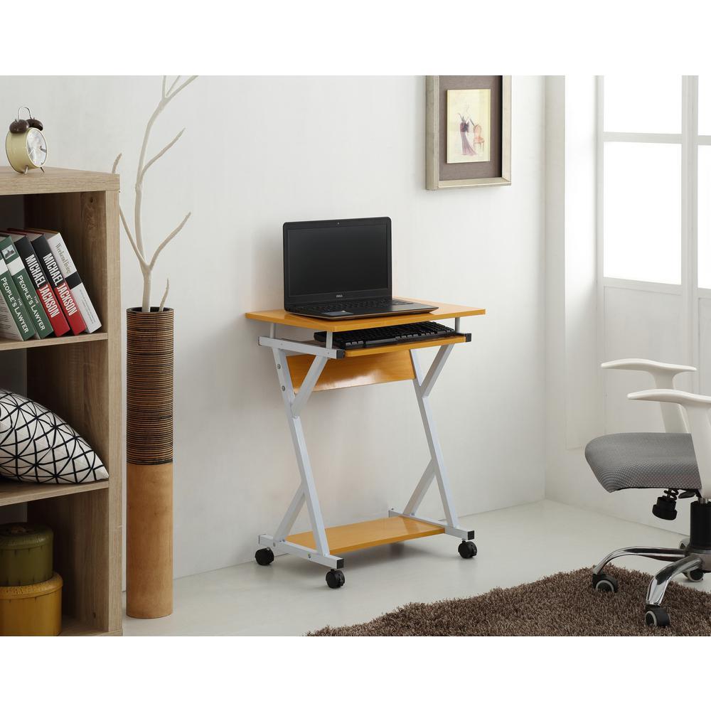Hodedah Wood Top Laptop Desk In Beech