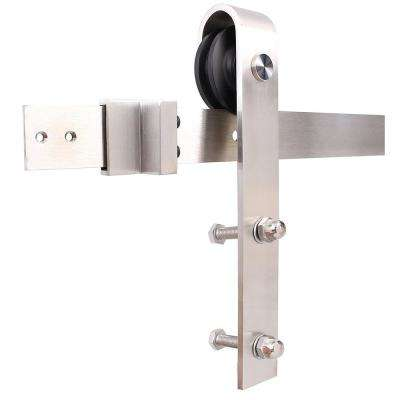 72 in. Stainless Steel Interior Modern Barn Door Closet Track and Hardware Kit