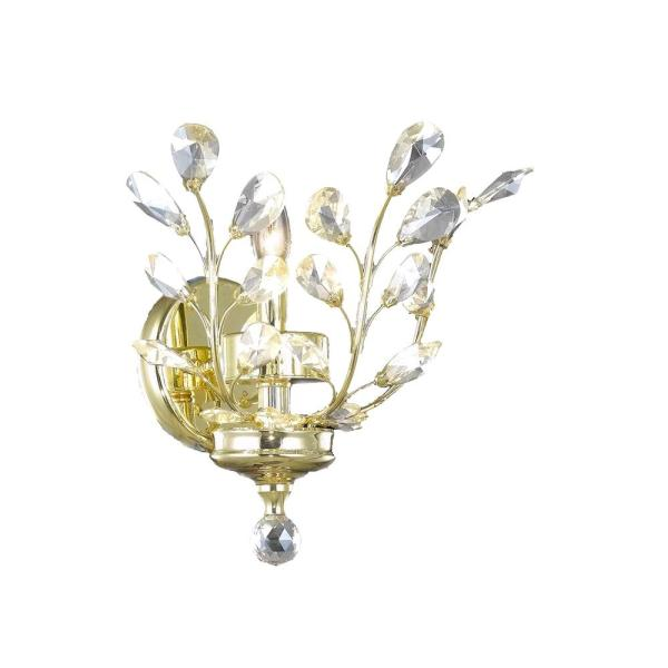 Aspen Collection 1-Light Gold and Clear Crystal Floral Wall Sconce