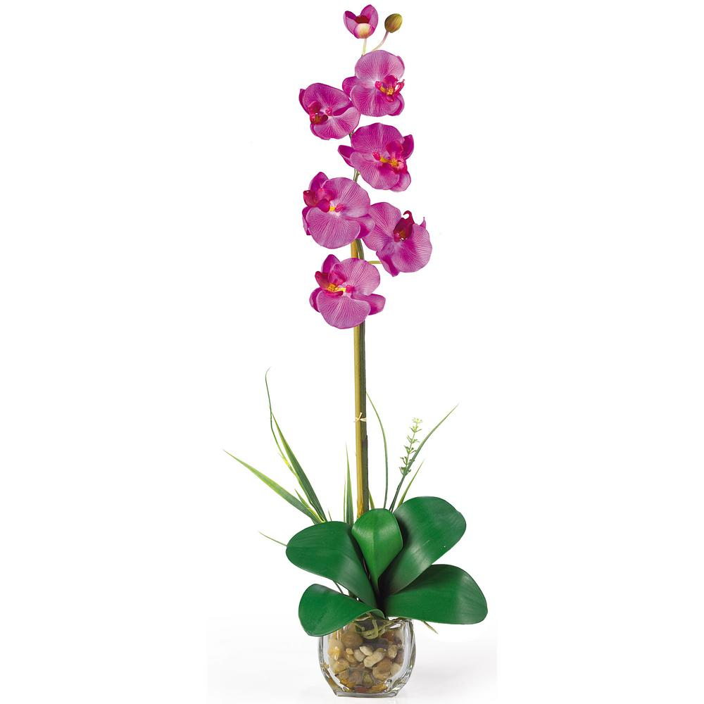 27 in. Single Phalaenopsis Liquid Illusion Silk Flower Arrangement in Orchid