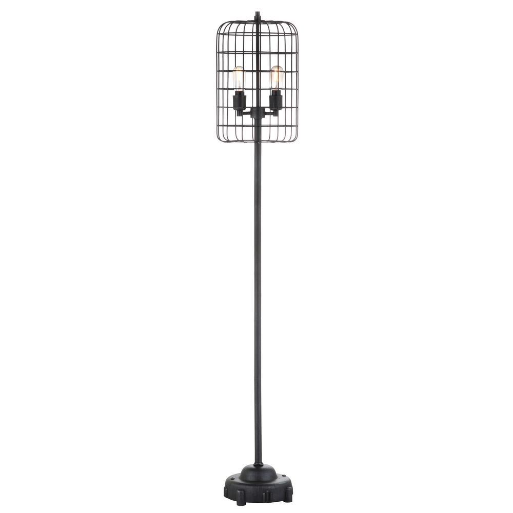 Odette 65 in. Black/Silver Industrial Metal Floor Lamp