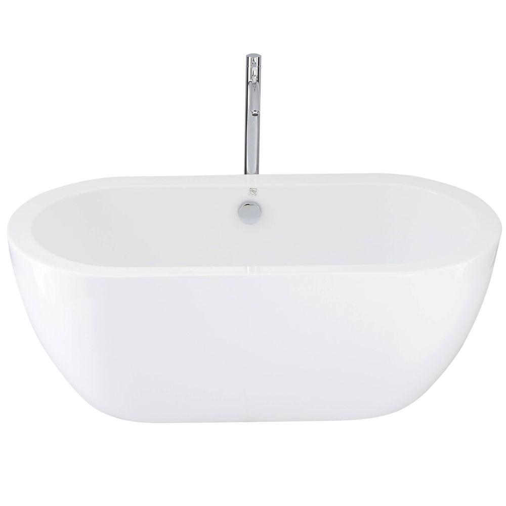 Acrylic Flatbottom Center Drain Soaking Tub In White With Floor