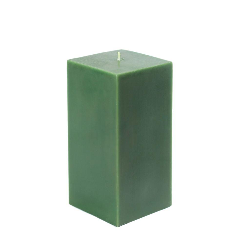 3 in. x 6 in. Hunter Green Square Pillar Candle Bulk
