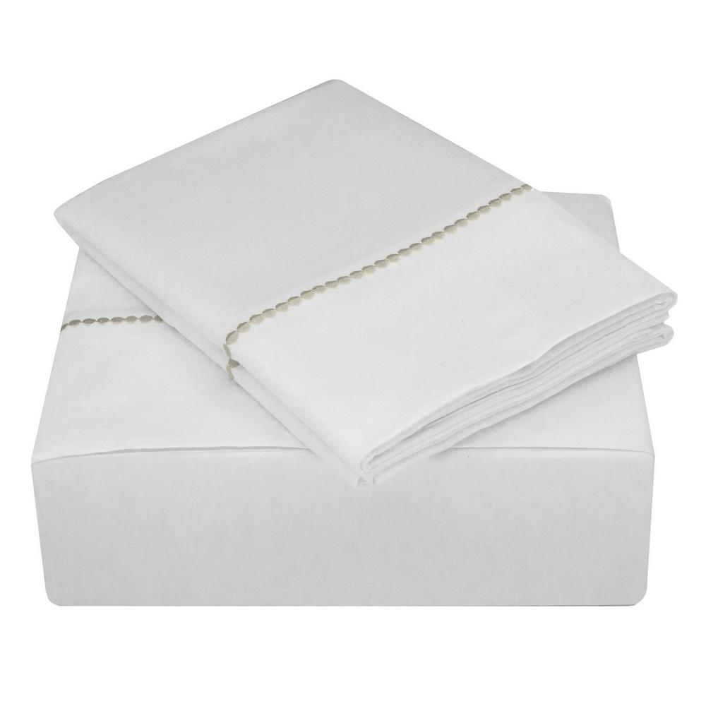 Highlights 400 Thread Count White And Linen Cotton Dot Cuff King Sheet Set