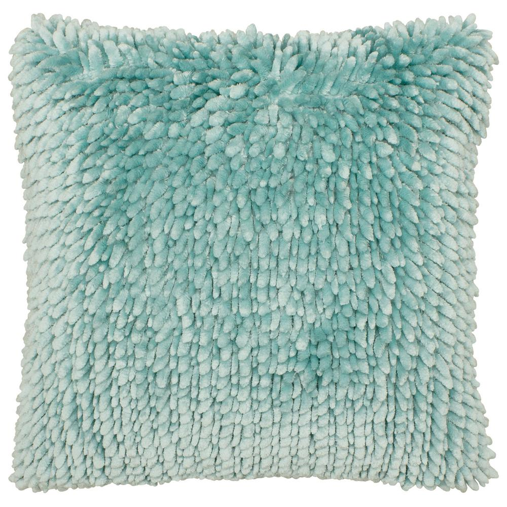 Butter Chenille 18 in. x 18 in. Aqua Decorative Pillow