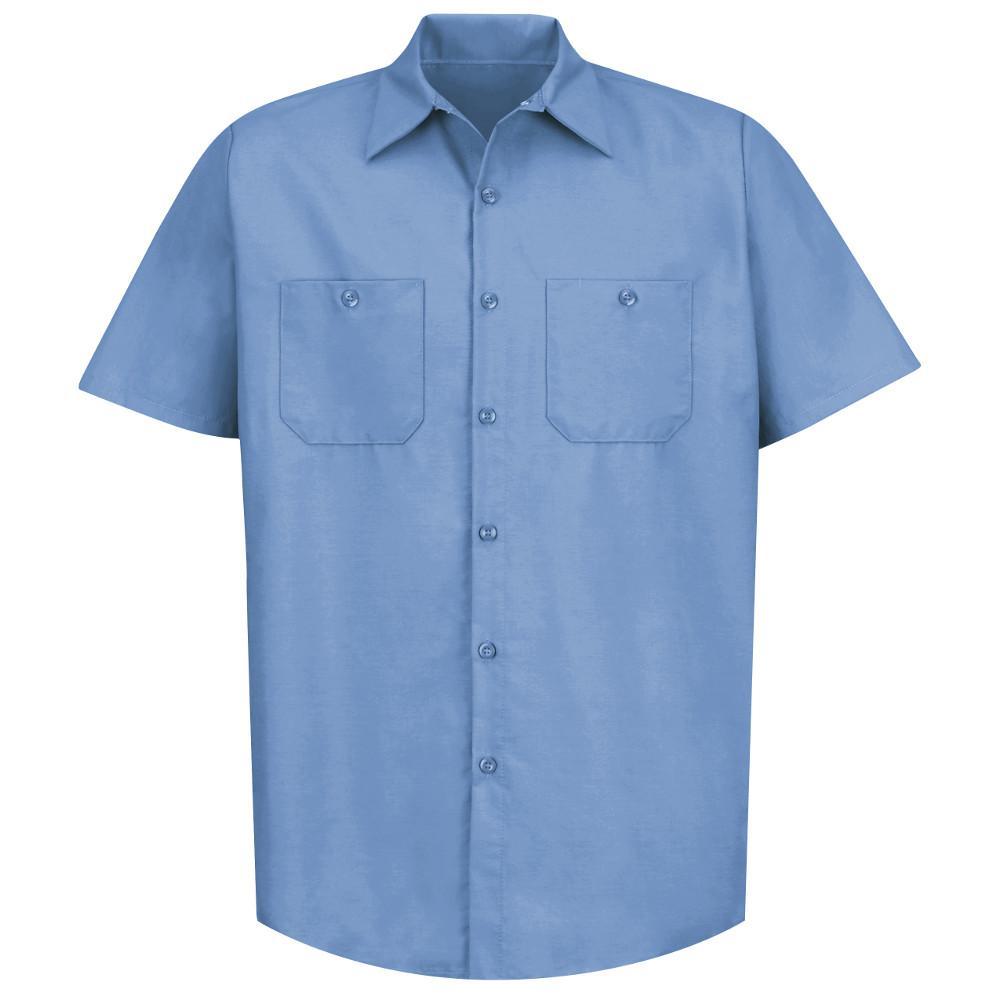 Men's Size 5XL (Tall) Light Blue Industrial Work Shirt