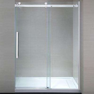 Sierra 60 in. x 81.5 in. Frameless Sliding Shower Door in Chrome with 60 in. Base