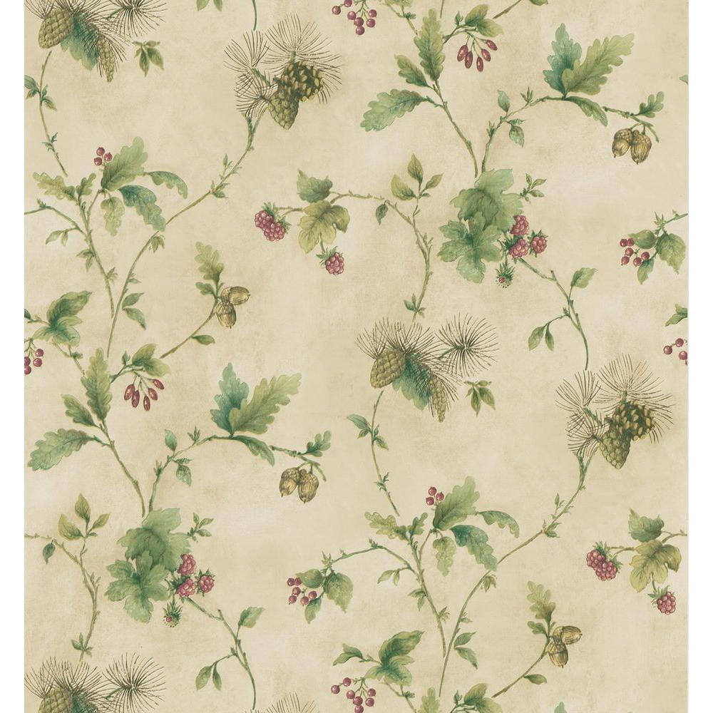 brewster northwoods lodge cream pinecone trail wallpaper sample