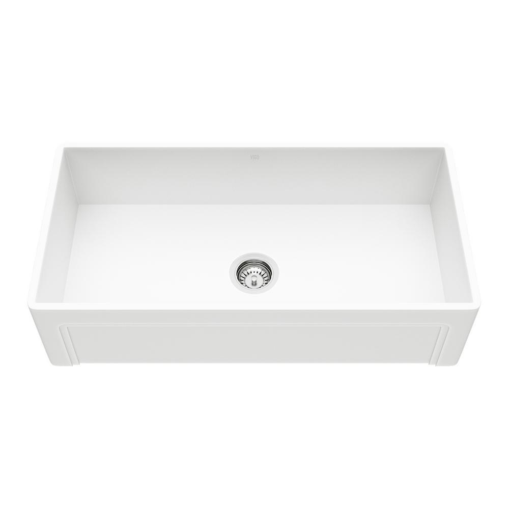 VIGO Matte Stone Farmhouse Composite 36 in. Single Bowl Kitchen Sink with 1 Strainer in Matte White