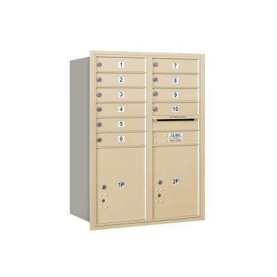 3700 Horizontal Series 10-Compartment with 2-Parcel Locker Recessed Mount Mailbox
