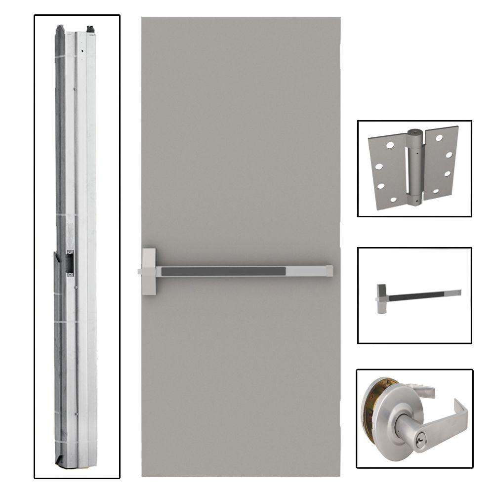 36 in. x 84 in. Flush Gray Steel Commercial Door with