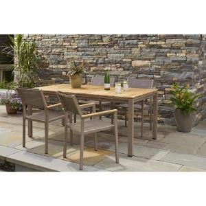 Hampton bay barnsdale teak 5 piece patio dining set set t1820 c2011 the home depot Home depot teak patio furniture