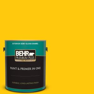 Behr Premium Plus 1 Gal 380b 7 Marigold Semi Gloss Enamel Exterior Paint And Primer In One 534001 The Home Depot