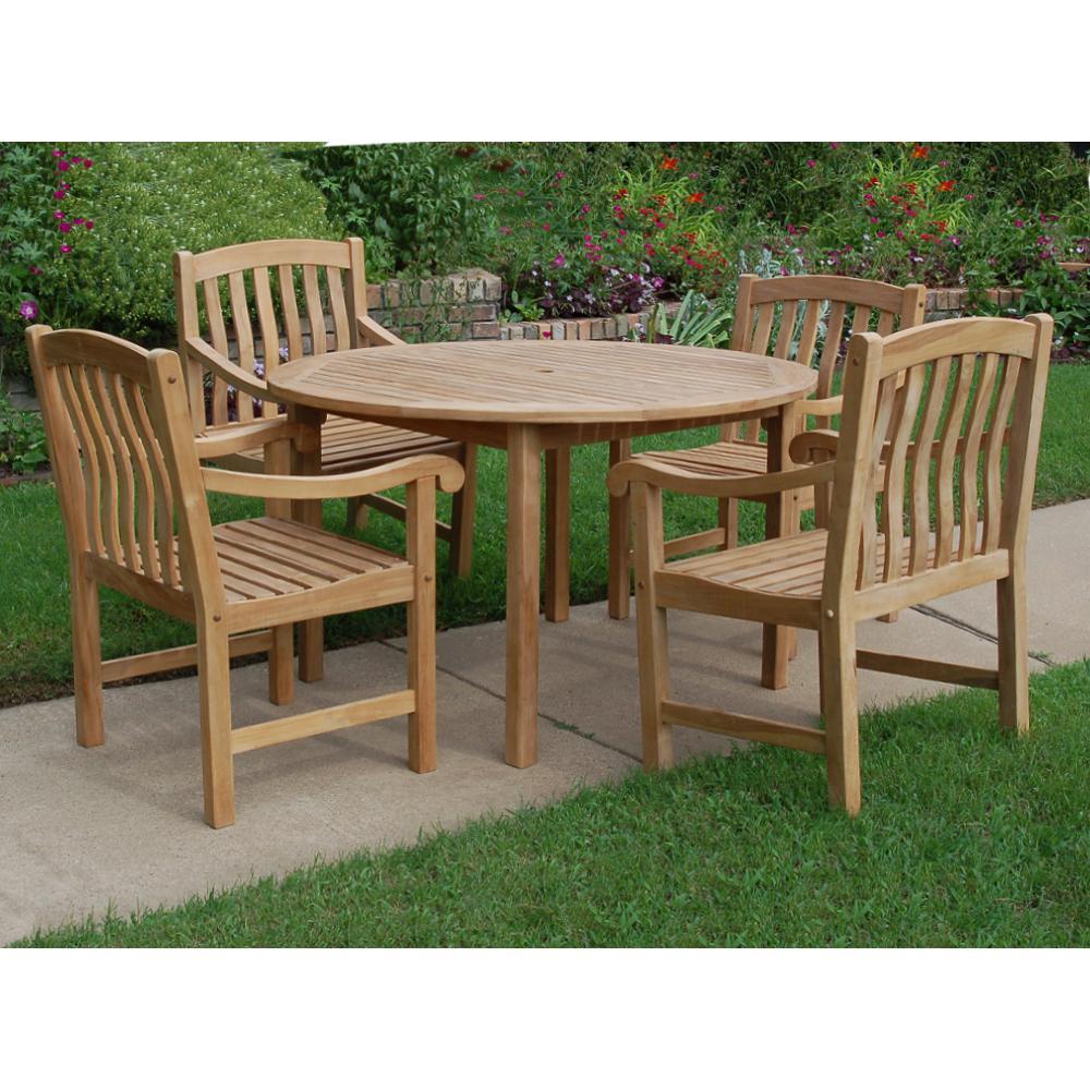 Colton Teak 5-Piece Wood Outdoor Dining Set