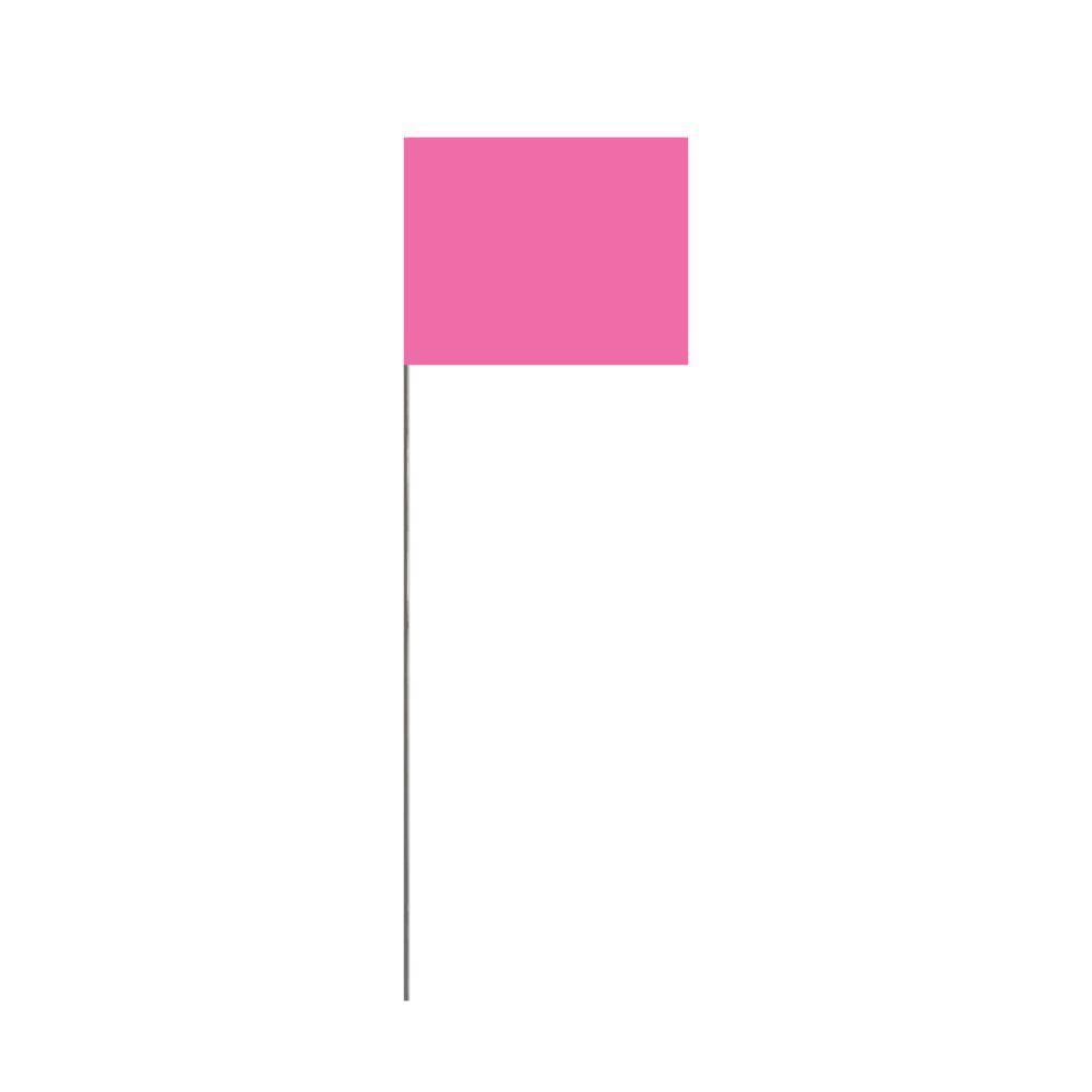 Presco 18 in. Glo Pink Stake Flag (100-Pack)