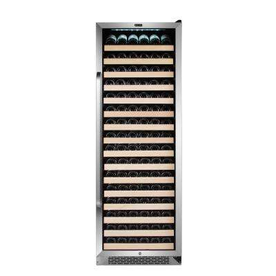 166 Bottle Built-in Stainless Steel Compressor Wine Refrigerator with Display Rack and LED Display
