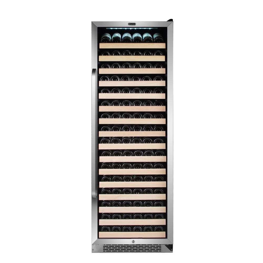 Whynter 166 Bottle Built-in Stainless Steel Compressor Wine Refrigerator with Display Rack and LED Display