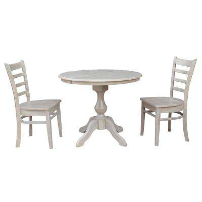 Sophia 3-Piece Oval Weathered Gray Dining Set with Emily Chair