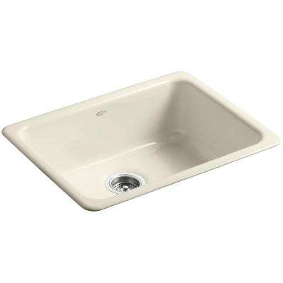 Dual Mount Cast-Iron 24 in. Single Basin Kitchen Sink in Almond