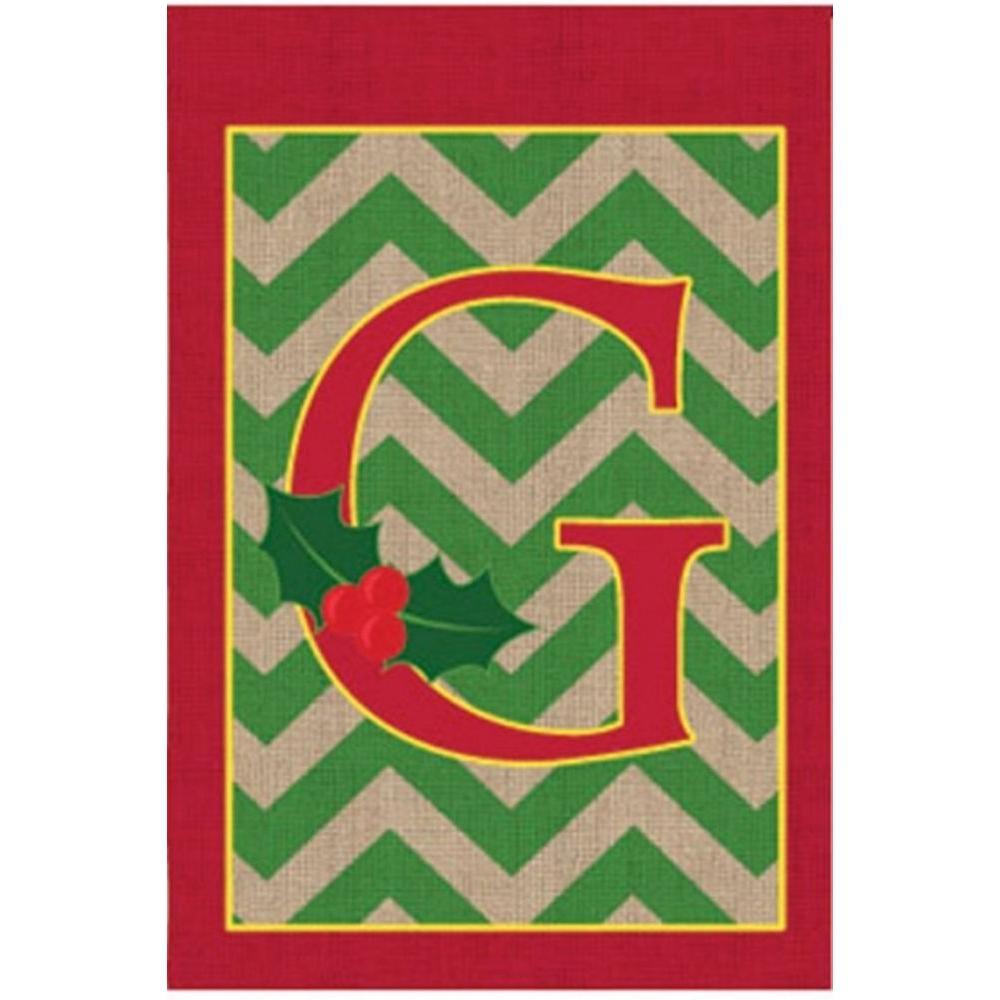 1 ft. x 1.5 ft. Monogrammed G Holly Burlap Garden Flag